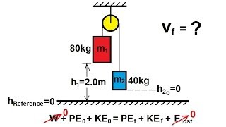 Physics - Work and Energy - A pulley with two weights (6 of