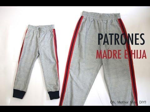 Patrones pantalones jogging madre e hija (gratis en varias tallas)