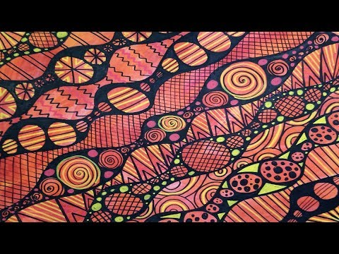 Doodling with Paint Pens on Painted Paper - Orange Circle Doodles