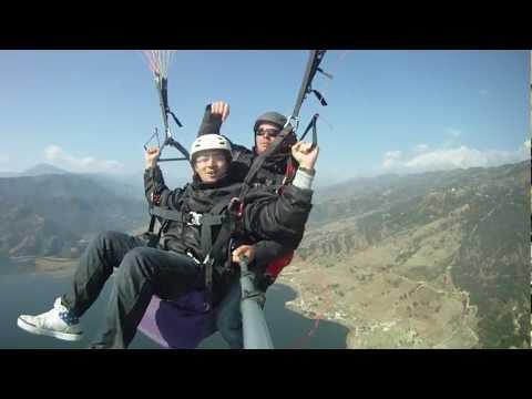 Abhash Bikram Thapa steers parachute – Paragliding in Pokhara, Nepal