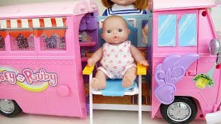 Baby doli and Camping bus baby doll car toys play