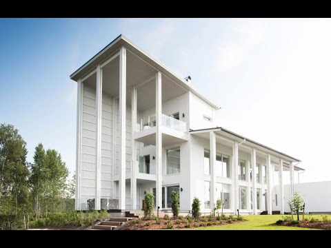 Wooden 3 Story Contemporary Home Design with Balconny on each Floor