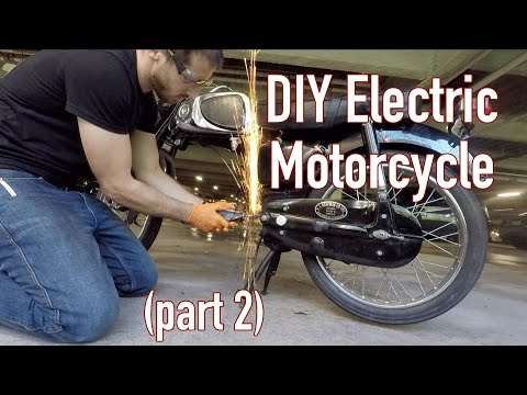 DIY electric motorcycle Part 2, engine and e-parts prep