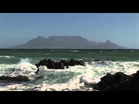 Table Mountain Cape Town Views from Bloubergstrand Beach Waves Surf on Atlantic Ocean South Africa