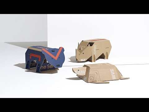 Sarah Willemart and Matthieu Muller transform Samsung Eco-Package boxes into animal toys