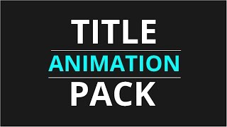 FREE Title Animation Pack - After Effects (Motion Graphics)