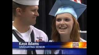 STUNNING VIDEO - Sailor Surprises Sister, Student With Leukemia Walks at Greenwood Graduation