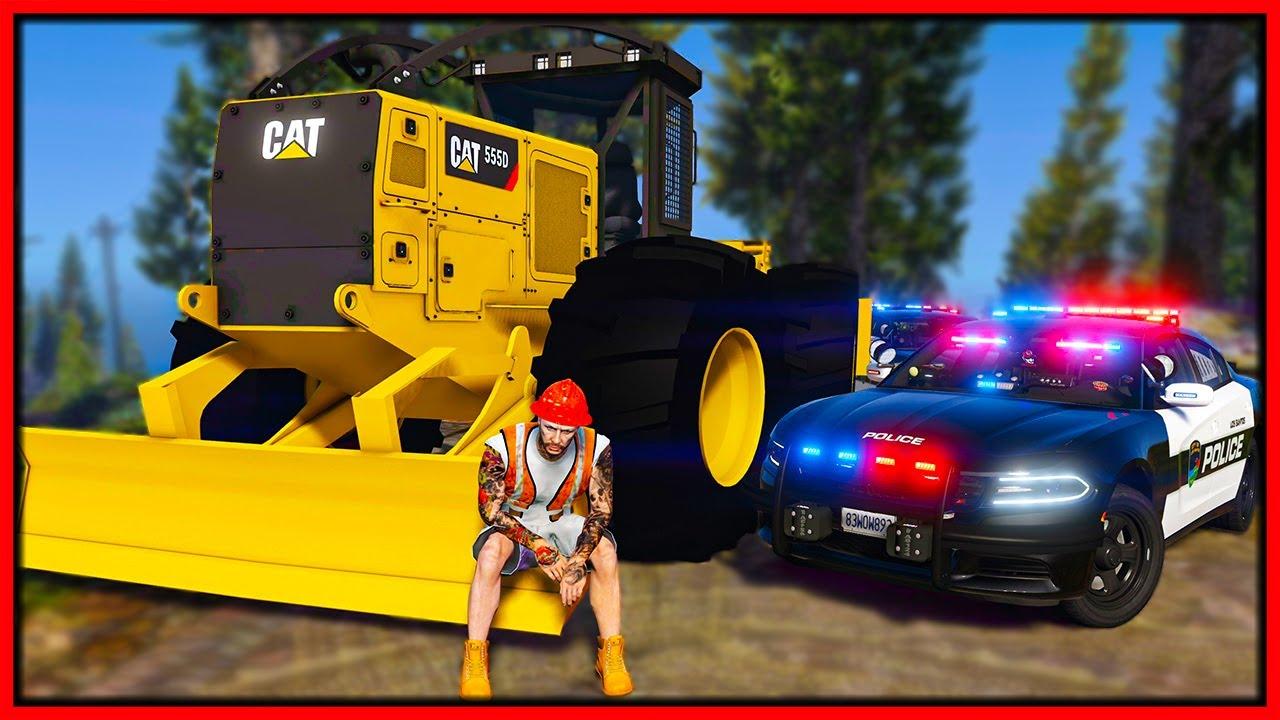 Elanip - GTA 5 Roleplay - WRECKING COPS IN MONSTER BULLDOZER | RedlineRP