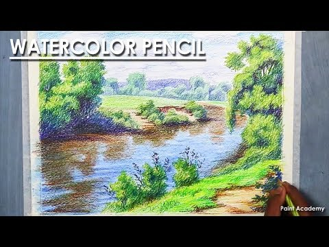 Landscape Drawing with Watercolor Pencil | step by step with color information