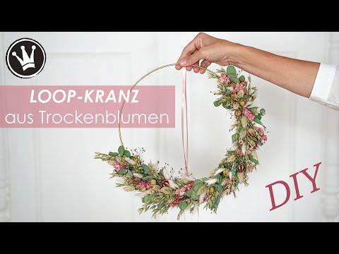 DIY - Herbstdeko: LOOP-KRANZ aus TROCKENBLUMEN binden | Floristik | VERLOSUNG | DekoideenReich