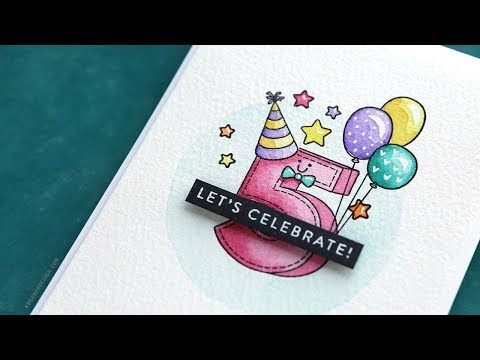 BUILDING A SCENE WITH MASKING – Simon's Birthday Numbers stamp set