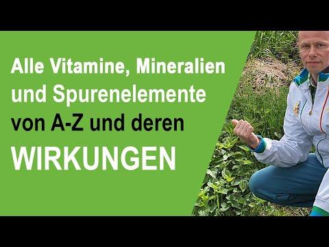 Alle wichtigen Vitamine, Mineralien und Spurenelemente von A-Z und deren Wirkungen im Überblick