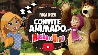 Convite Animado Masha e o Urso Grátis