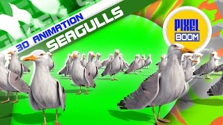 Green Screen Group of Seagulls - Footage PixelBoom
