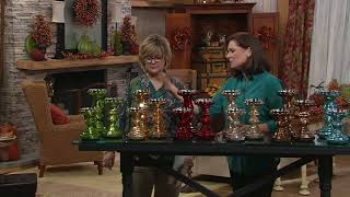 S/3 Illuminated Mercury Glass Candle Holder Pedestals by Valerie on QVC