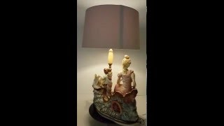 Beautiful Genuine Capodimonte Ceramic Figurine Handpainted Table Lamp and Shade