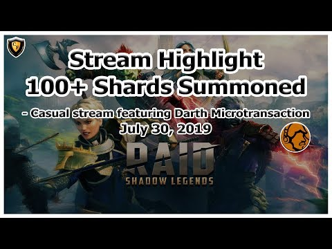 RAID Shadow Legends | Stream Highlight | July 30, 2019 | 100+ Shards feat. Darth Micro