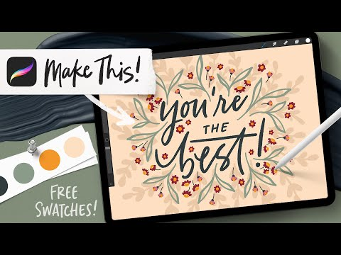 One Brush! Easy Floral Lettering in Procreate