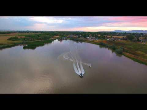 waterski sunset drone short
