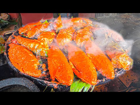 EXTREMELY CHEAP Street Food in Asia - $0.25¢ SPICY FEAST + BIGGEST Seafood SQUID BBQ in the WORLD!!