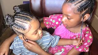 Super cute hairstyle for kids: Feed in braids (into two buns/ponytails) by Beautiishername