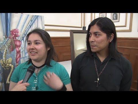 Marian Escuante y Miguel Ángel Mamani - Alumnos del Polivalente de Arte