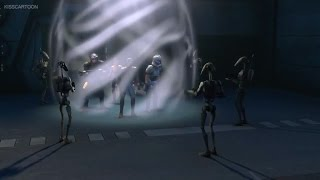 Star Wars Rebels:  Clone Wars droids surrounds the rebel crew