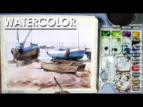 Watercolor Painting : Fishing Boats step by step