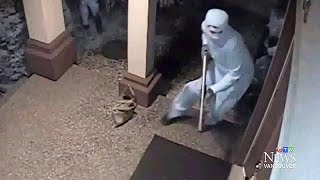 Terrifying armed home invasion attempt caught on camera