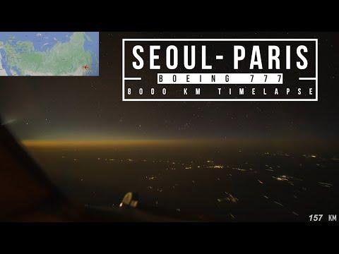 BOEING 777 SEUL – PARİS UÇUŞU 8000 KM. 11 SAAT 30 DAKİKA (4K) (DÜNYA DÜZDÜR)