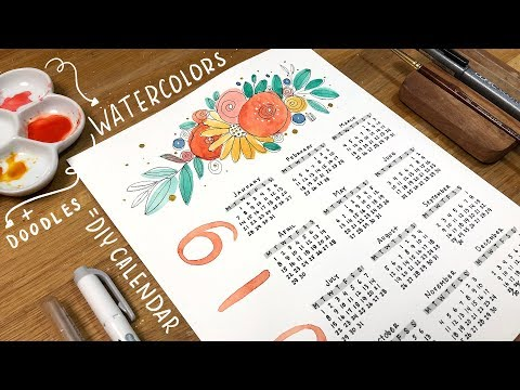how to make a whimsical DIY wall calendar with watercolor and doodlles