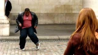 Black fat guy dancing Michael Jackson