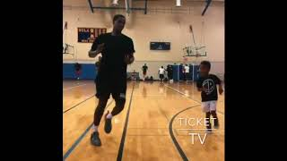 BUCKS STAR BRANDON JENNINGS MAKING THE YOUNG FELLA RUN SUICIDES WITH HIM AFTER THEY FINISHED PLAYING