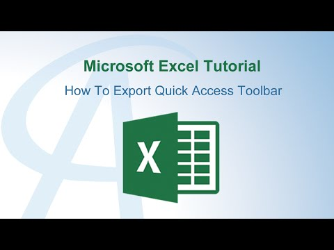 How To Export Quick Access Toolbar In Excel