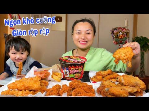 Set mì cay,gà KFC 4 vị chấm sốt cay ? & bánh ngàn lớp vị kem dâu ngon thần sầu #852