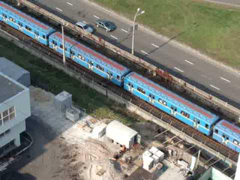 subway train outside my hotel window in Kiev, Ukraine