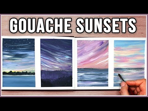 I think I'm OBSESSED! Let's Paint Sunsets & Clouds with Gouache // Art Journal Thursday