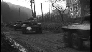 United States 3rd Armored Division vehicles drive towards Mosbach in Germany. HD Stock Footage