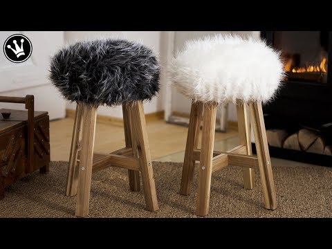 DIY – Fell-Hocker selber machen   Sitzbezug aus Fell nähen   Tipps & Tricks