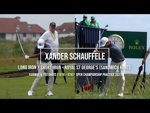 Xander Schauffele Golf Swing Long & Short Iron (FO views) Royal St George's (Sandwich) July, 2021.