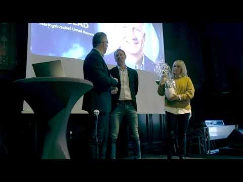 Peter Juneblad hyllas på Umeå Kommuns näringslivsfrukost av Balticgruppen.