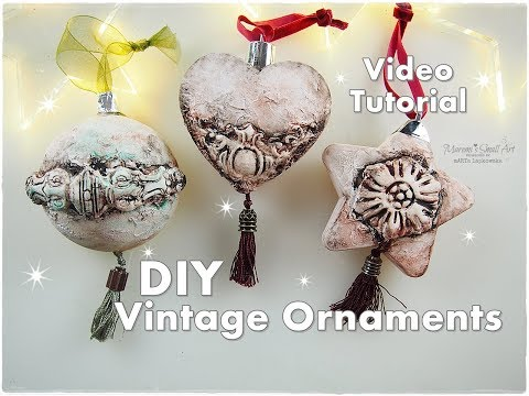DIY Vintage Mixed Media Clay Ornaments ♡ Maremi's Small Art ♡