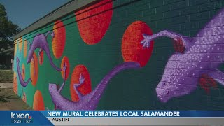 Artist debuts mural celebrating salamanders at Austin school