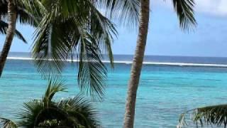 Waves crashing  on the reef   Rarotonga April 2011