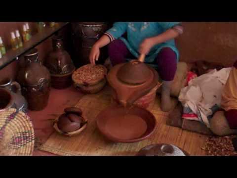 Grinding nuts into argan oil near Marrakech, Morocco