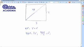 Obtener el lado de un cuadrado sabiendo que la diagonal mide Matemáticas Academia Usero