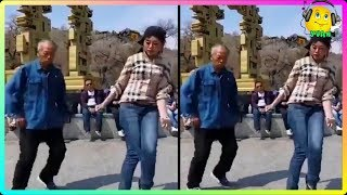Chinese Grandfather Dancing with Granddaughter Shanghai width=