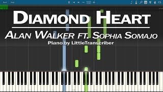 Alan Walker - Diamond Heart (Piano Cover) ft Sophia Somajo Synthesia Tutorial by LittleTranscriber