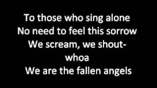 Black Veil Brides _Fallen Angels_ lyrics (on screen)