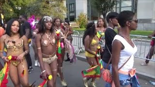 CARIBBEAN ISLAND GIRLS PARADING WALKING TO SOCA MUSIC AT BROOKLYN LABOR CARNIVAL PARADE 2016